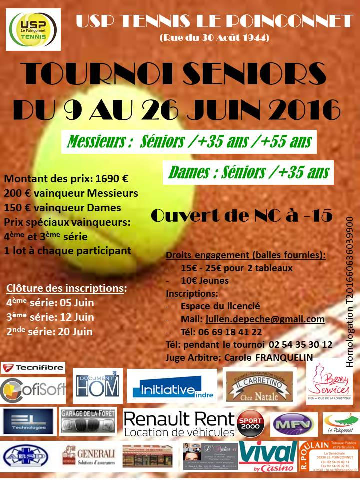 Affiche retenue Tournoi Séniors USP tennis 2016 ML
